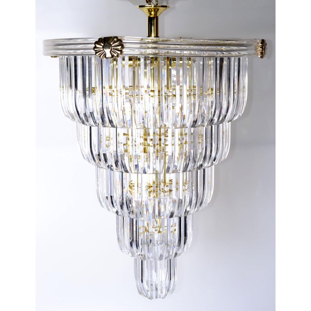 Brass & Lucite Chandelier - Image 2 of 9
