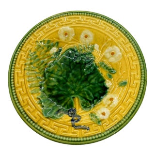 French Majolica Plate, Leaf and Fern, Greek Key Border on Yellow, Choisy-Le-Roi For Sale