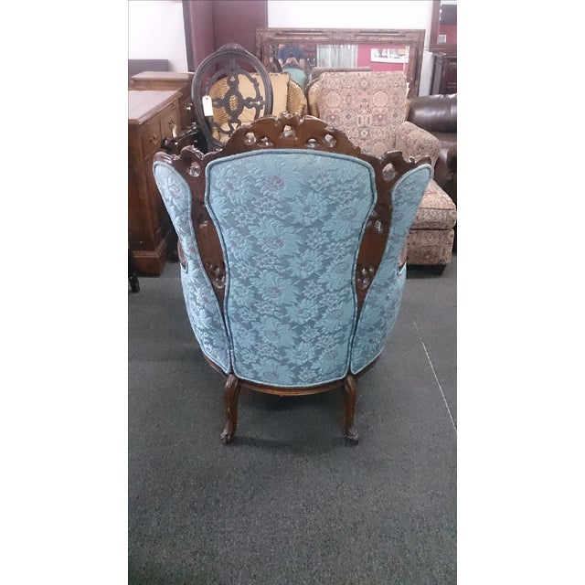 Wingback Victorian Chair and Ottoman - Image 3 of 5