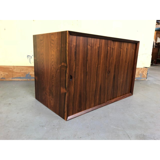1960s 1960s Mid-Century Modern Poul Cadovius Rosewood Wall Unit Sliding Door Cabinet For Sale - Image 5 of 8