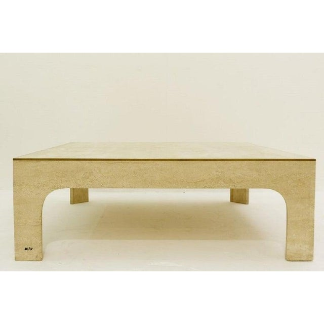 Mid-Century Modern Willy Rizzo Travertine Coffee Table ,1970s For Sale - Image 3 of 7