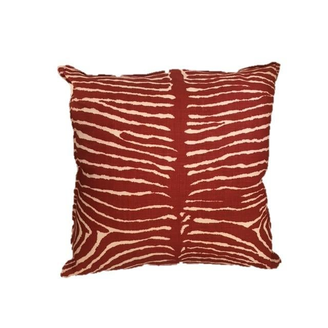 Brunschwig & Fils Red Zebra Pillows - A Pair - Image 2 of 3