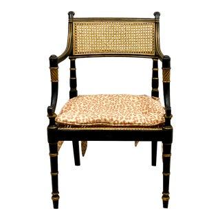 Baker Furn. Ebonized Regency Style Chair For Sale