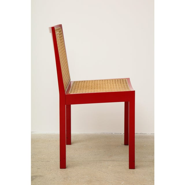 "Caning Set of Four Red Lacquered ""Bankshuhl"" Chairs by Willy Guhl for Stendig For Sale - Image 7 of 13"