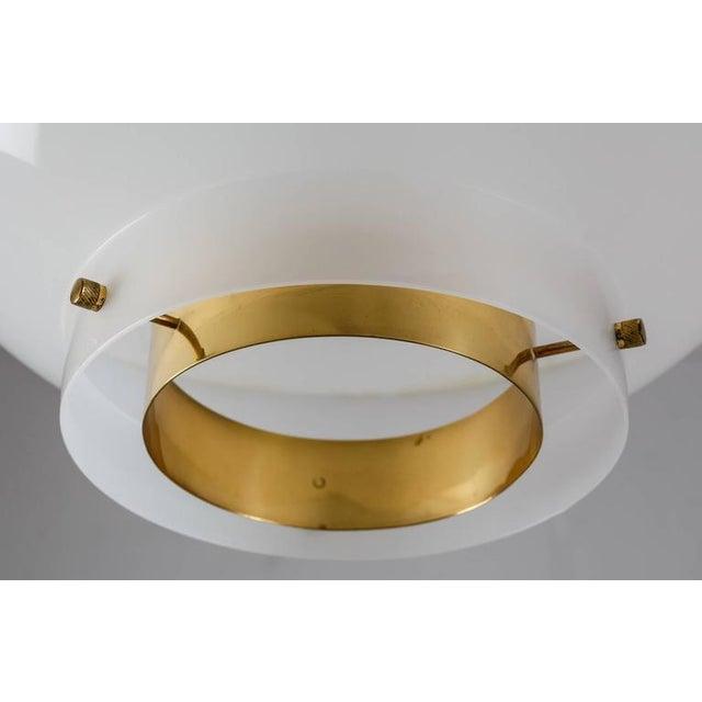 Brass Yki Nummi White Plexiglass and Brass Pendant for Orno, Finland, 1960s - 2pcs For Sale - Image 7 of 9