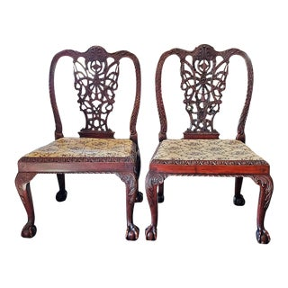 18th C. Large Chippendale Style Ribbon-Back Chairs - a Pair For Sale