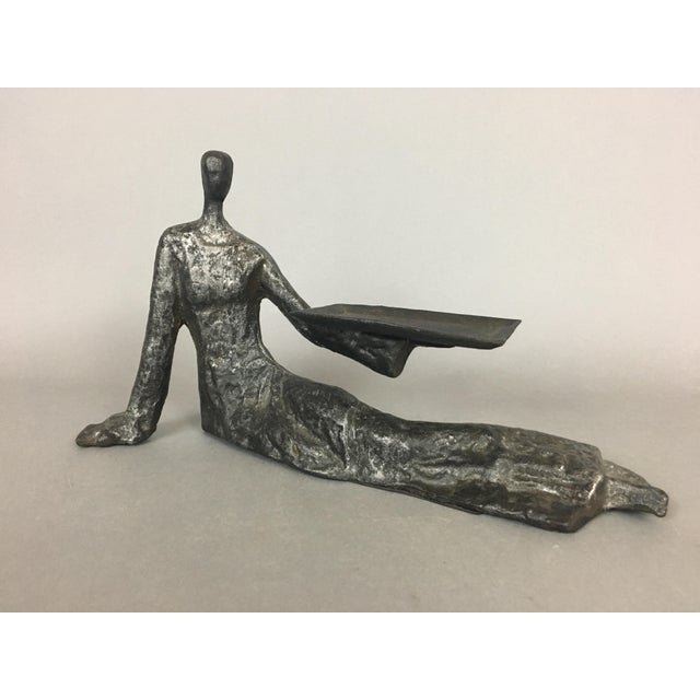 Mid-Century Metal Sculpture of Reclining Woman. Perfect for holding your business cards! Unsigned and appears to be made...