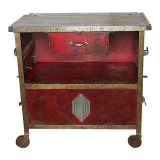 1920's Vintage Art Deco Auto Shop Metal Bar Cart For Sale