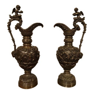 19th Century Antique French Patinated Bronze Ewers With Bacchanalian Scenes - a Pair For Sale