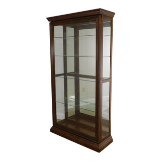 Traditional Cherry Glass Sliding Door Curio Display Cabinet For Sale