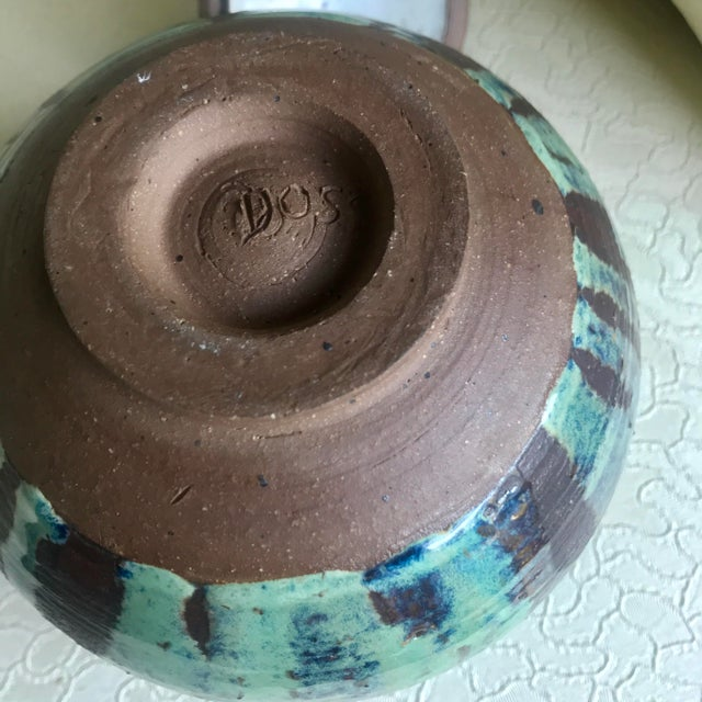 Clay 1960s Arts and Crafts Curly Handle and Mottled Glaze Iridescent Clay Pot For Sale - Image 7 of 13