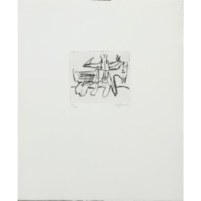 A single composition by late Danish sculptor Robert Jacobsen. Etched composition with figure. Signed Robert Jacobsen,...
