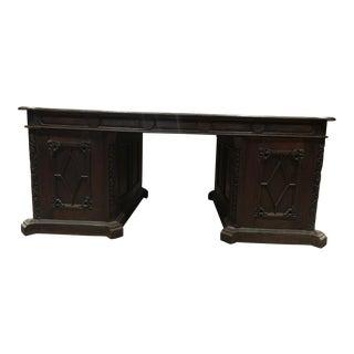 19th Century Solid Teak Partners Desk