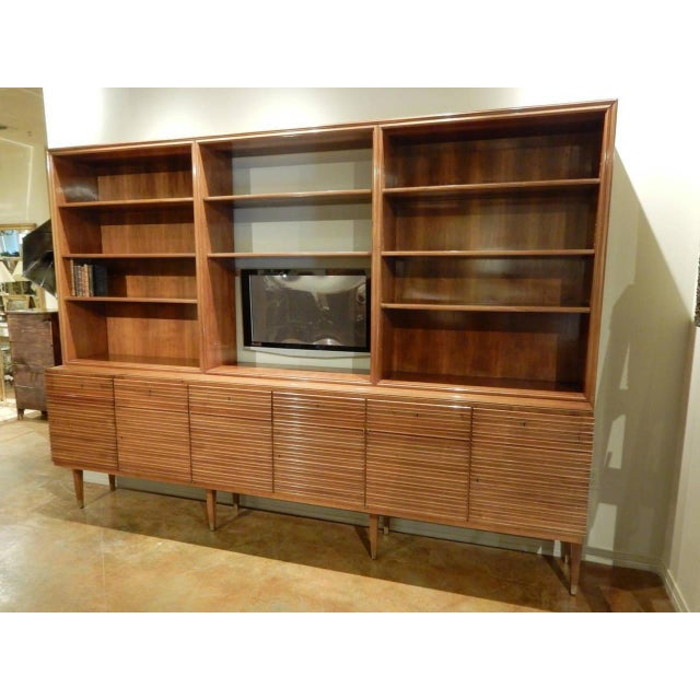 Paolo Buffa Italian Mid-Century Modern Walnut Bookcase Cabinet by Paolo Buffa For Sale - Image 4 of 11
