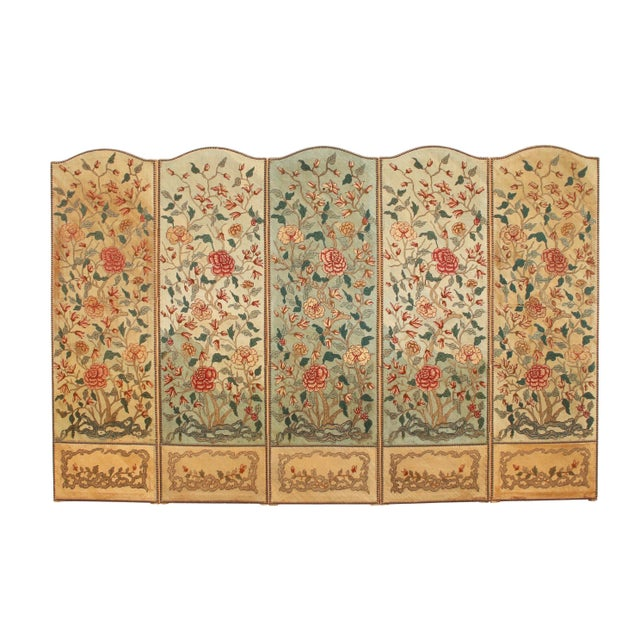 1860's English Silk Needlepoint Screen in the Manner of William Morris For Sale In Tampa - Image 6 of 6
