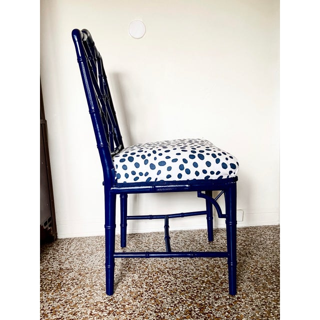 1960s 1960s Chinese Chippendale Style Century Furniture Navy Lacquer Faux Bamboo Chair For Sale - Image 5 of 13