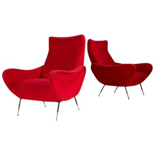 Pair of Italian Modern Lounge Chairs For Sale