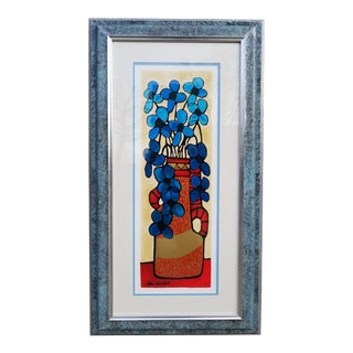 """Blue Flowers"" Serigraph by Avi Ben Simhon For Sale"