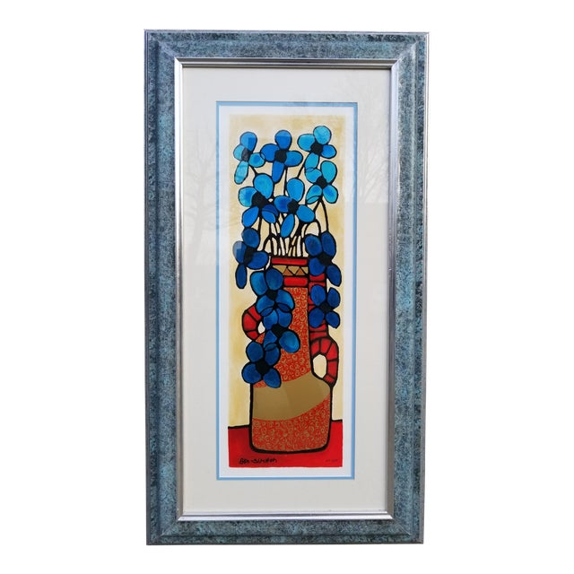 "Image of ""Blue Flowers"" Serigraph by Avi Ben Simhon"