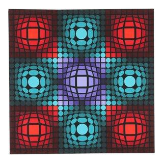 """1980s Victor Vasarely, """"Dyevat"""", Op Art Screenprint For Sale"""