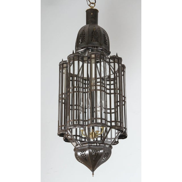 Metal Large-Scale Moroccan Moorish Pendant Chandelier, Metal and Clear Glass For Sale - Image 7 of 7