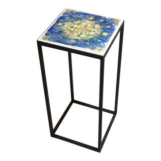 Vintage Persian Tile Side Table For Sale
