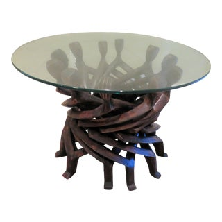 "African ""Sacred Circle"" of Men Dancing Table For Sale"