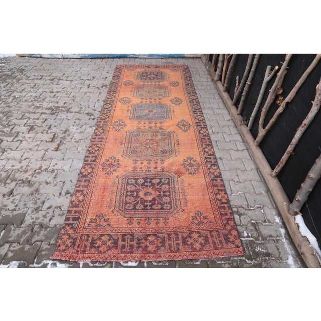 """1960's Vintage Turkish Hand-Knotted Wide Runner Rug - 4'1"""" X 11'5"""" For Sale - Image 11 of 11"""