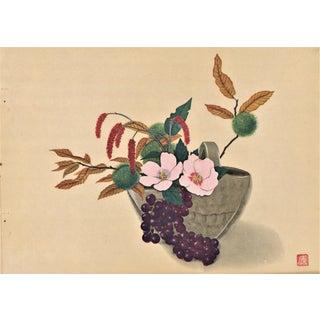 Japanese Botanical Arrangement Print For Sale