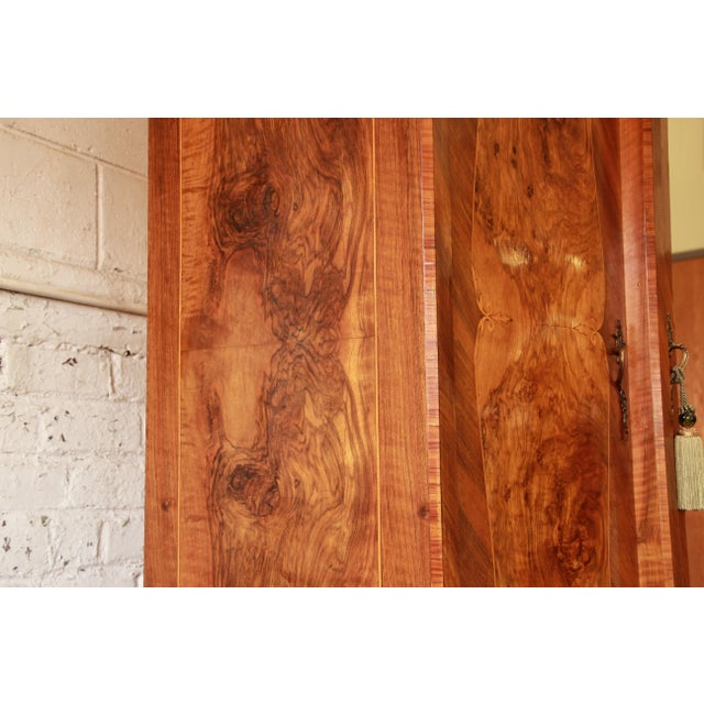 1870's Burled and Inlaid French Knockdown Wardrobe For Sale - Image 10 of 13