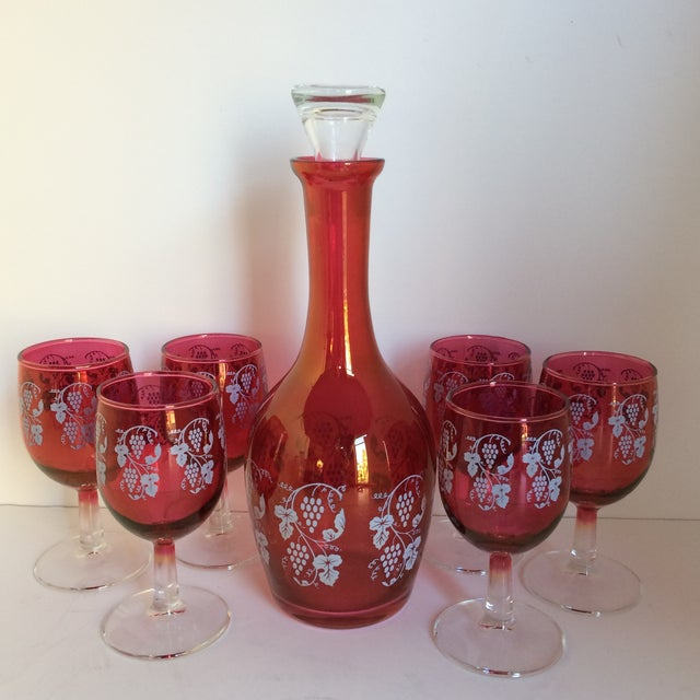 Vintage Opalescent Cranberry Red Port Decanter and 6 Glasses -Set of 7 For Sale - Image 11 of 11