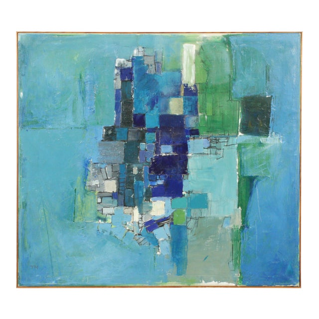 Mid-Century Blue Square Abstract Tommy Hansen For Sale