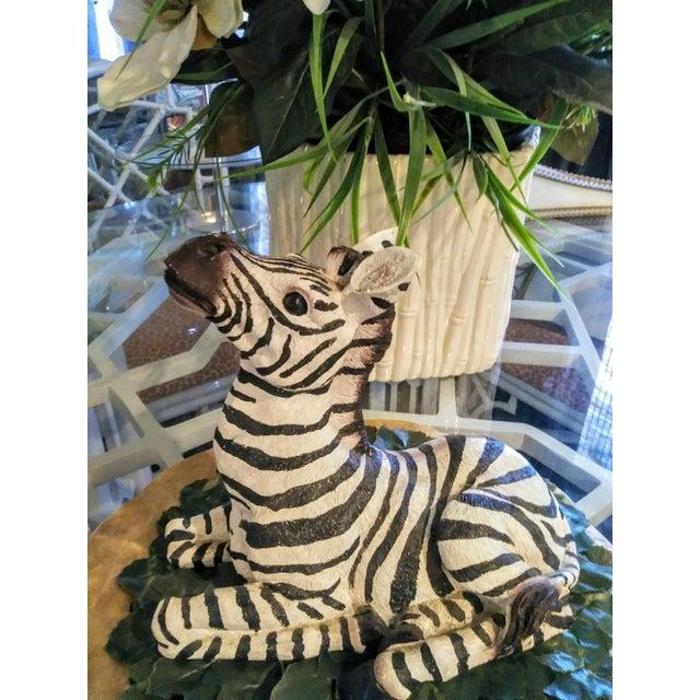 Black 1980s Black and White Sitting Zebra Palm Beach Regency Statue For Sale - Image 8 of 8