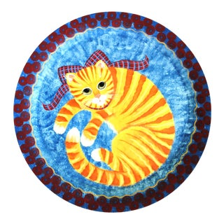 Nancy Albro Folk Art Americana Orange Cat Painted Wood Tray For Sale
