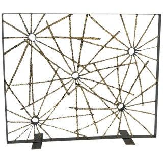 John De La Rosa Studio Brutalist Starburst Fireplace Screen For Sale