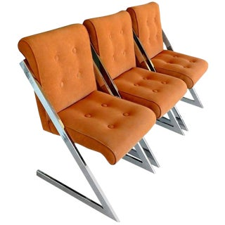 Chrome and Velvet Z Chairs by Milo Baughman For Sale