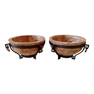Maitland Smith, Tessellated Stone and Metal Bowls - a Pair For Sale