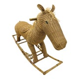 Image of Vintage Wicker & Rattan Rocking Horse For Sale