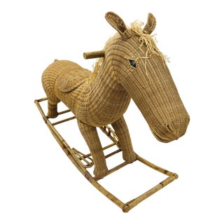 Vintage Wicker & Rattan Rocking Horse For Sale
