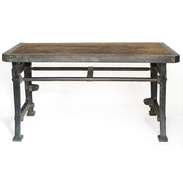 Industrial Iron and Wood Worktable From France - Image 2 of 8