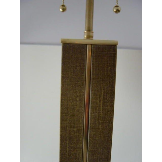 Mid-Century Modern 1970s Karl Springer Linen and Brass Floor Lamp For Sale - Image 3 of 6