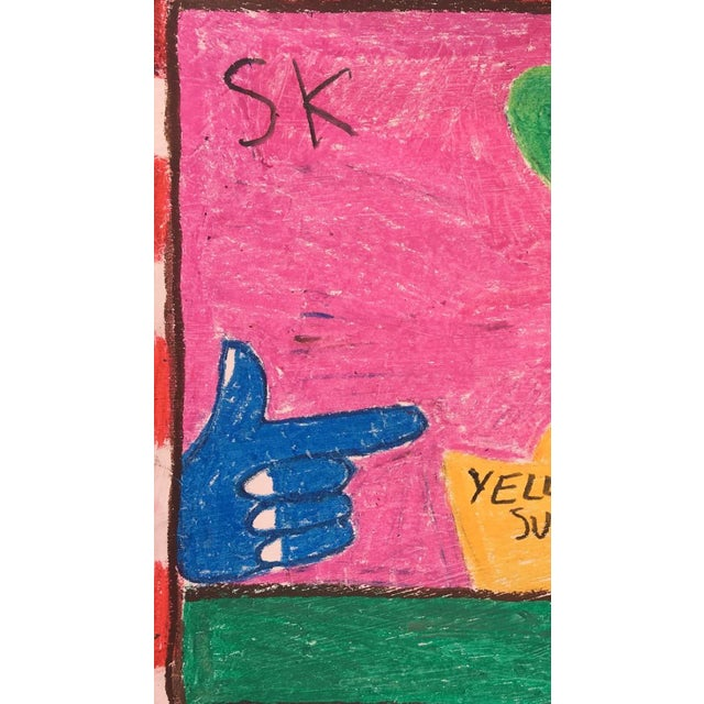 Abstract 'Yellow Submarine' Oil Pastel Drawing by Sean Kratzert For Sale - Image 3 of 4