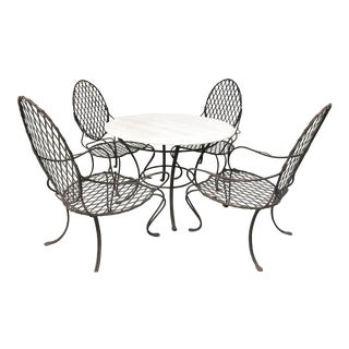 Rose Tarlow Twig Iron Garden Table With Stone Top & 4 Armchairs