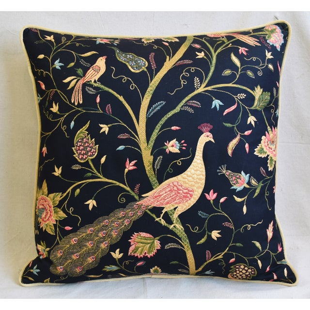 """Chinoiserie Peacock & Floral Asian Feather/Down Pillows 24""""- Pair - Image 3 of 13"""