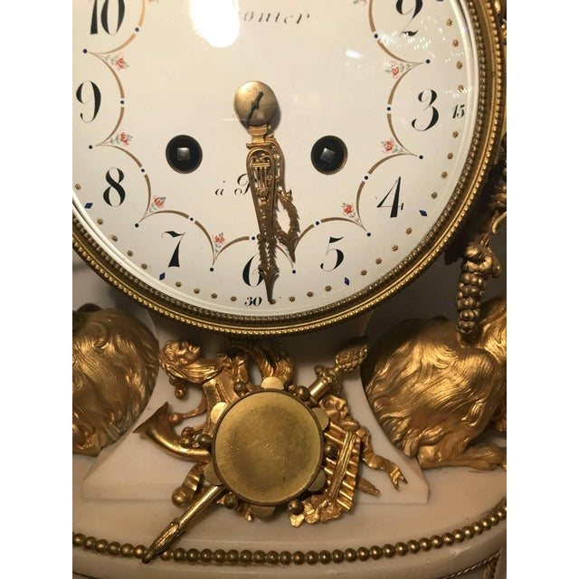 Bronze Elegant 18th Century French Ormolu Marble Clock and Garniture For Sale - Image 7 of 10