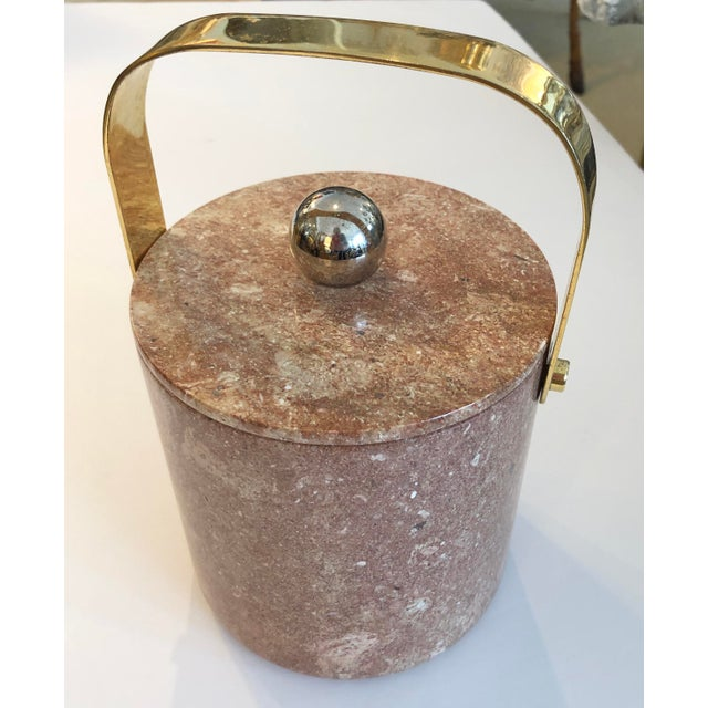 Fabulous Mid-Century Heavy Solid Marble & Brass Ice Bucket made in Italy. Perfect condition, no chips or repairs.