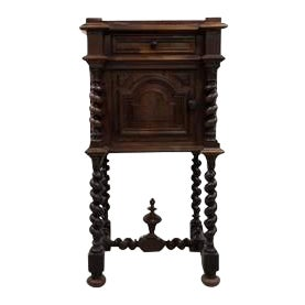 Antique French Barley Twist Vanity Stand Desk With Rose Pink Marble Top For Sale