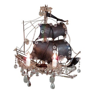 20th Century Italian Venetian Ship Chandelier with Tole Sails