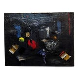 Image of 1950s Vintage Still Life on a Kitchen Table Expressionist Oil Painting by Howard Warsaw For Sale