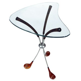 Mid Century Biomorphic Glass Top Golf Club Side Table For Sale
